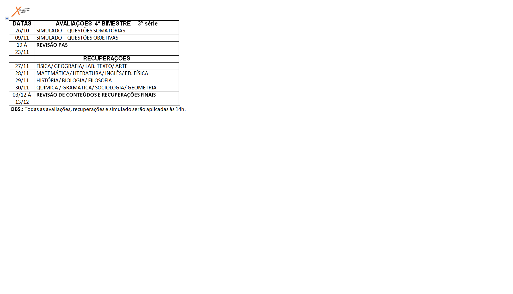 Calendário de provas da 3º série do Ensino Médio