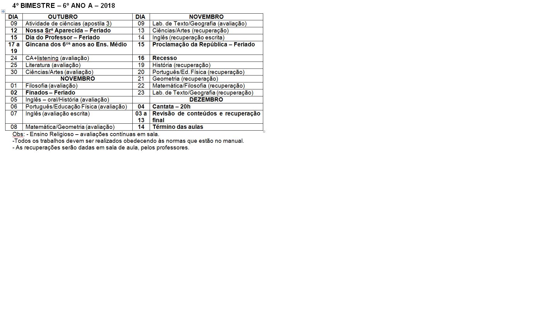 Calendário de provas do 6º ano A - Ensino Fundamental