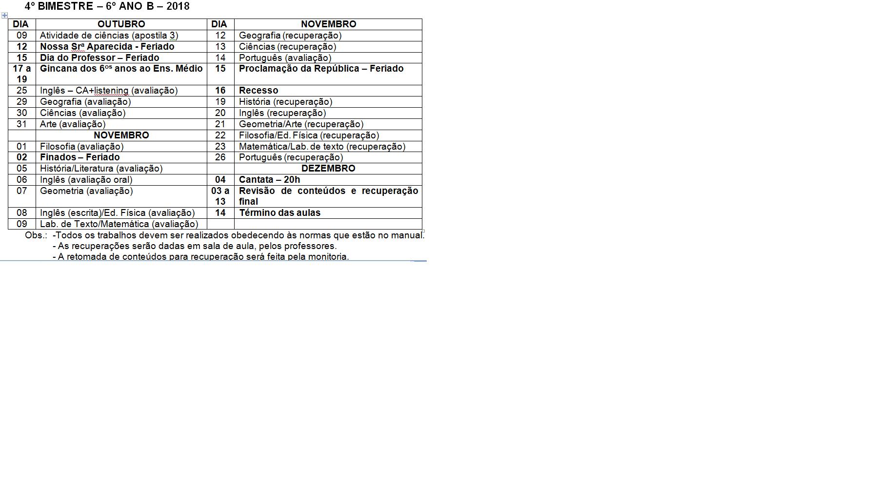 Calendário de provas do 6º B - Ensino Fundamental